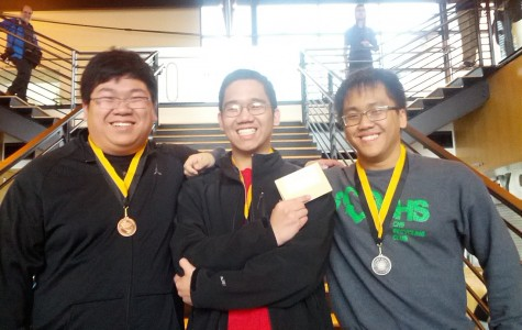 Junior Patrick Lam, left, senior Kiet Sam and junior Hilton Vo placed third in a programming contest at Pacific Lutheran University in Tacoma on Saturday, Feb. 6.