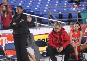 Lady Eagles' Head Coach Jamie Redd shows her disappointment in the team's first-half performance.