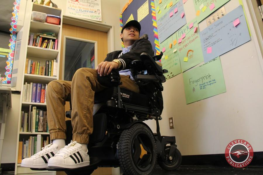 Phong Ton is having to readjust to life in a wheelchair after being severely injured in a car crash last May. The senior attends school part time to accommodate his rehabilitation schedule.
