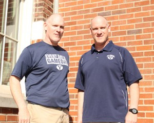 Gym teacher Lance Lighthall, left, and his twin brother, Loren, not only look alike; they sound alike too.