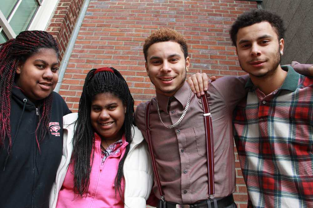 Identical twins, from left, A'aliyah Shields, A'uria Shields, Frank Sheckles and Chris Sheckles are just two sets of of the many multiples attending Cleveland.