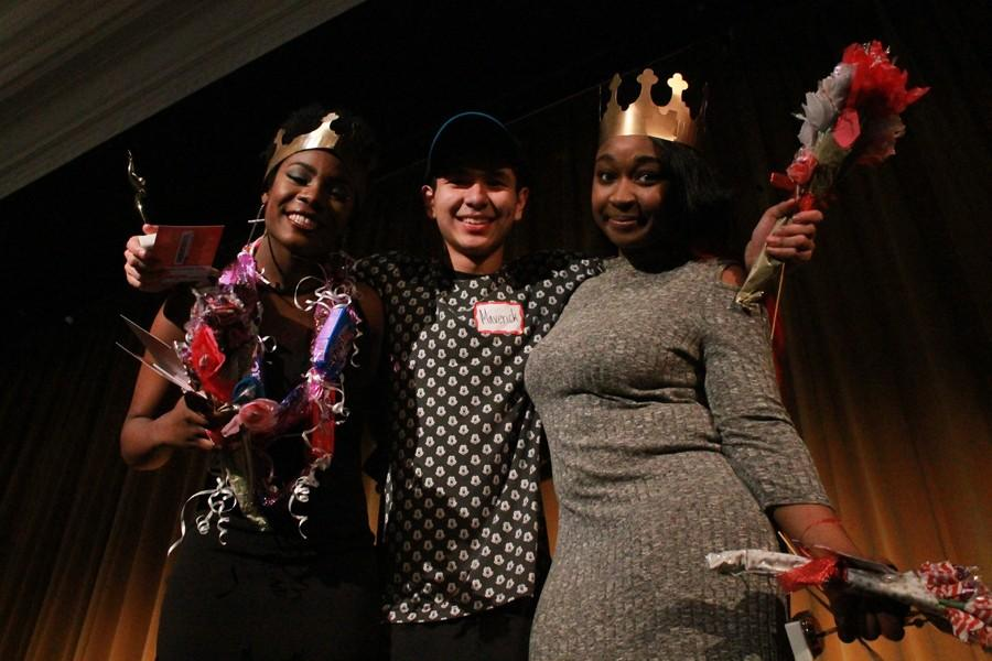 It was Maverick Garcia, center, who walked away with the win with his impressive dance skills. Mountainview's Janea Hall, left, finished second and Jada White from Mount Rainier High School finished 3rd .