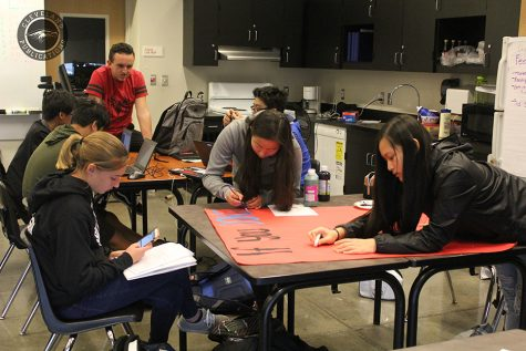 "Students in School Events and Student Leadership class work on ""Keep Cleveland Clean"" posters to remind students to pick up their trash. Members of ASB have a strained relationship with the leadership class because no student government leaders are in the class."