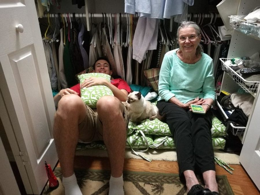 Cleveland alum Han Eckelberg, left, seeks cover in a closet with his grandmother, Jean, during Hurricane Irma. Han is the brother of Wen Eckelberg, a sophomore at CHS. Wen's brother and dad were stranded in Lakeland, Fla., for days after the hurricane hit the Sunshine State.
