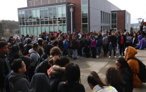 Students gather in the courtyard on March 14 for a 17-minute moment of silence for the victims of the Stoneman Douglas High School shooting on Feb. 14. The massacre left 17 people dead and led to a national movement by students for lawmakers to work harder on gun control.