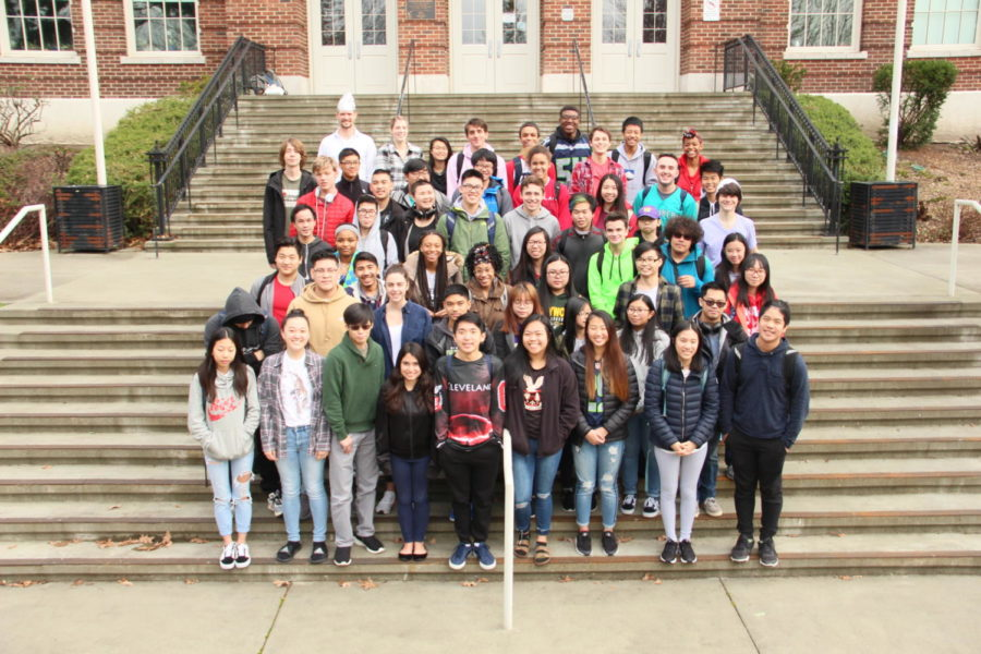 The Flat Earth Club poses for their yearbook photo on Feb. 5. Members of the Flat Earth Club look to under- stand how conspiracies are spread and learn the methodologies in making sound scientific claims.