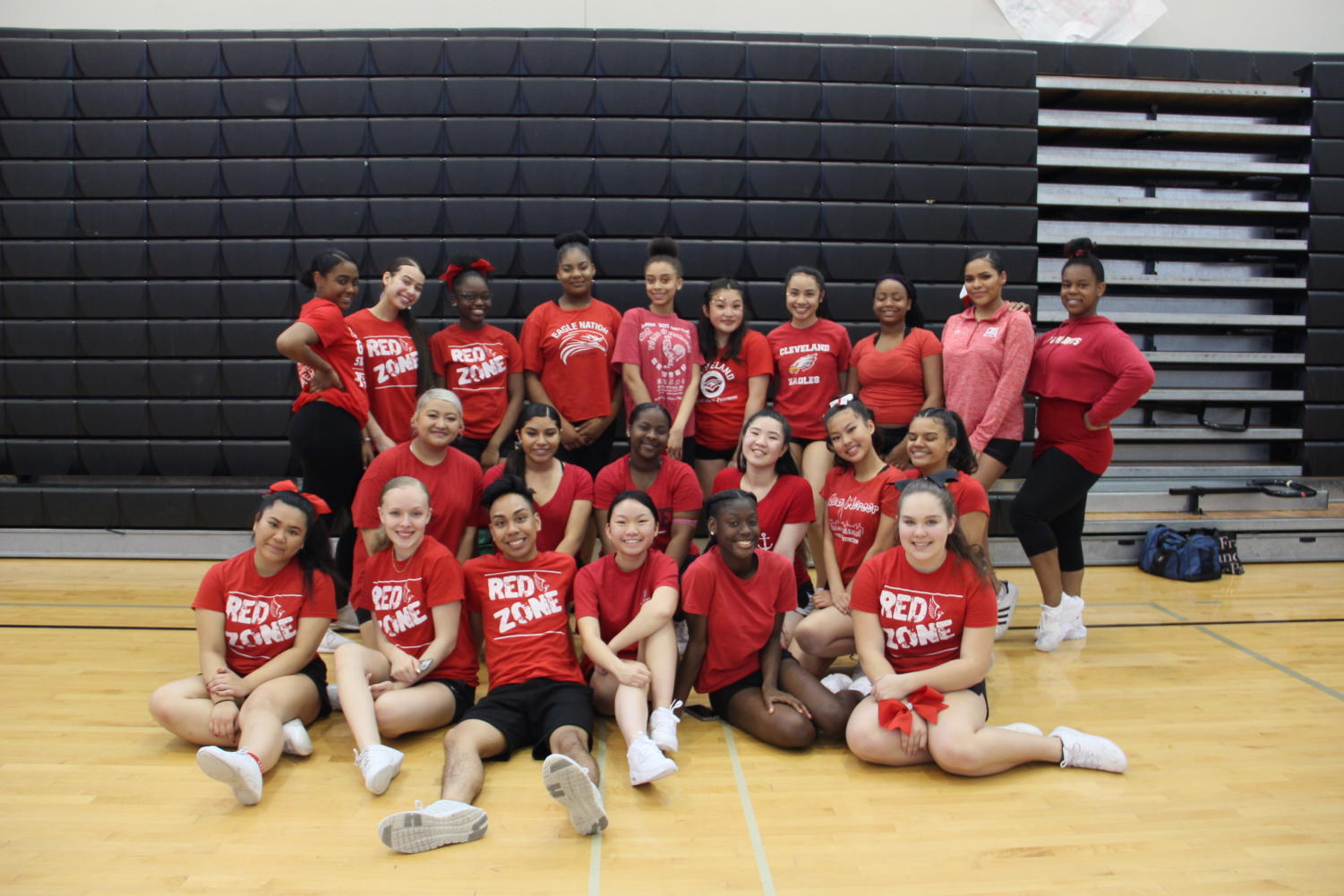 The 2018-19 cheer squad, front row, left to right: Keeley Saelee, Ryanne Jones, Ernesto Tugade, Ginger Huynh, Amaree Bates, Virginia Lewis. Second row: Lana Saephanh, Helen Martell Moya, Camryn Delgardo, Iaramae Calvi, Megan Louie, Parris Sanjose. Third row: Khaleea Best, Cindy Kieu, Jasmine Hendrix, Kira Pitts, Tommi Adams, Mai-Lee Tran, Alaja-Rain Logan, Deja Blankenship, Faith Capers.