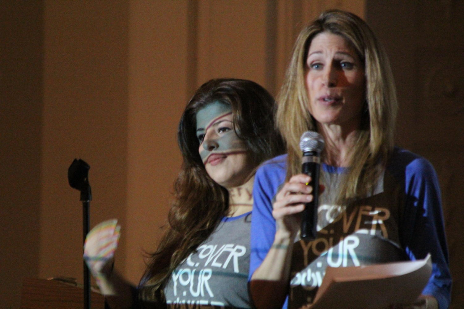 Sarah Khaledi, left, and Meggan Atkins from the Women Against Violence Everywhere (WAVE) Foundation, hosted assemblies on May 16 addressing topics around sexual assault awareness.