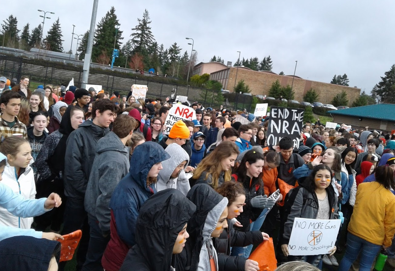 Students protest at Ingraham High School on March 14, which marked exactly one month after the Marjory Stoneman Douglas High School massacre in Parkland, Fla. The massacre sparked a nationwide discussion about gun violence and school safety.
