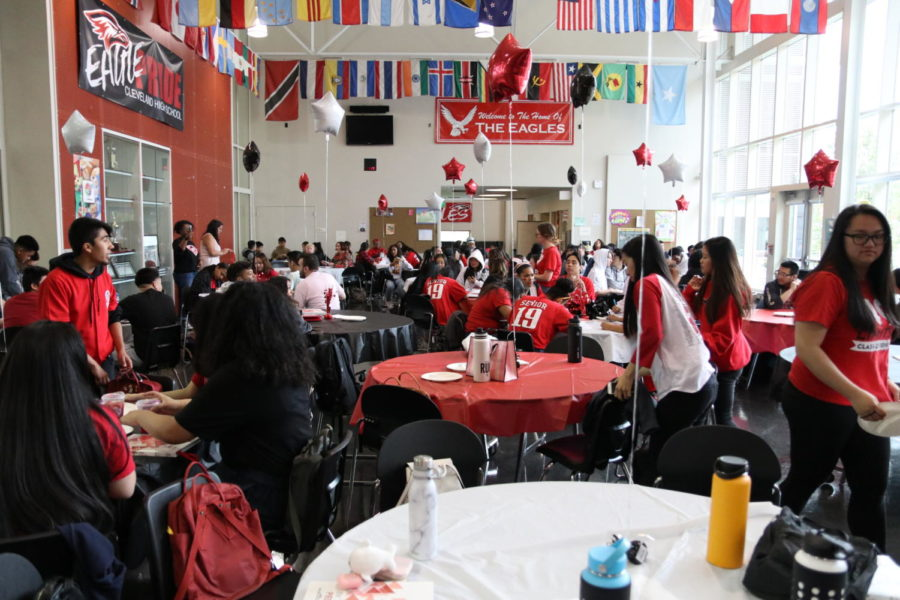 The Class of 2019 gathers in the cafeteria for the Senior Breakfast and Awards Ceremony on June 5. The event is sponsored by the PTSA and serves as an opportunity for seniors to be recognized for their leadership, academic excellence and growth.